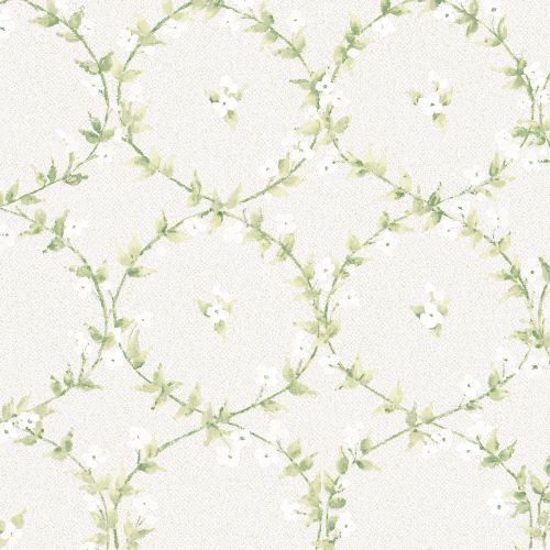 AF37746 Patton Wallcoverings Norwall Flourish Floral Laurel Wallpaper Green