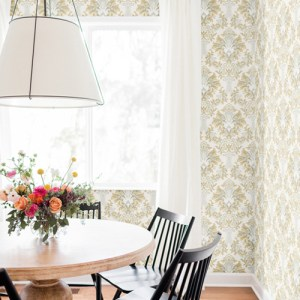CL2501 York Wallcoverings Impressionist Bold Brocade Wallpaper Yellow Room Setting
