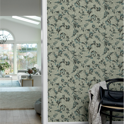 CL2534 York Wallcoverings Impressionist Vine Silhouette Wallpaper Green Room Setting
