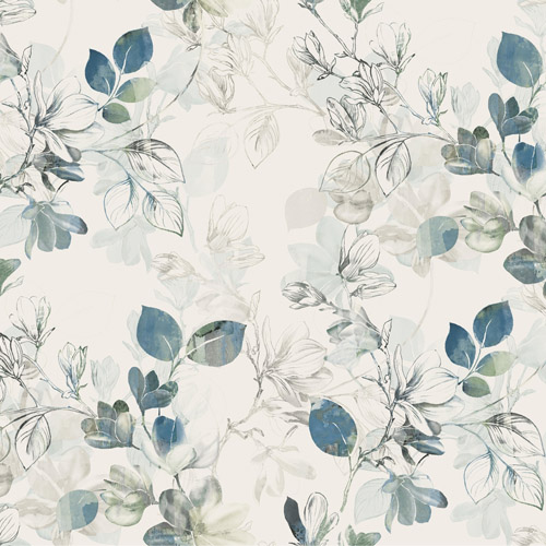 CL2544 York Wallcoverings Impressionist Arbor Vine Wallpaper Blue