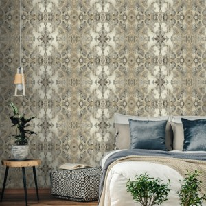 DN3717 York Wallcoverings Candice Olson Botanical Dreams Inner Beauty Wallpaper Off-White Room Setting