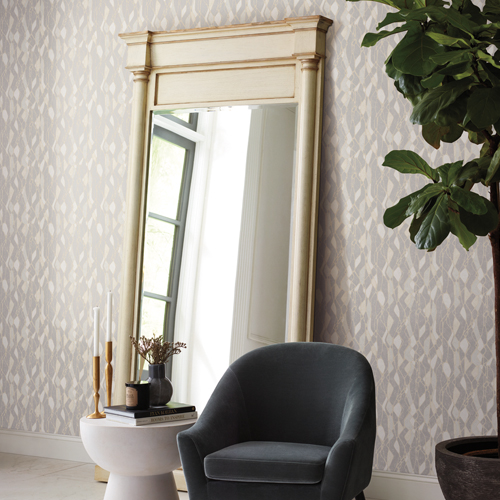 NA0510 York Wallcoverings Candice Olson Botanical Dreams Stained Glass Wallpaper Grey Room Setting