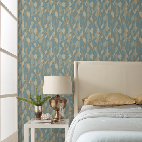 NA0512 York Wallcoverings Candice Olson Botanical Dreams Stained Glass Wallpaper Blue Room Setting