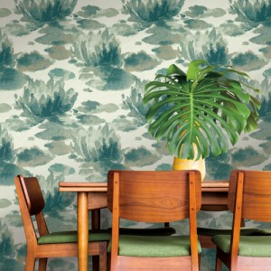 NA0526 York Wallcoverings Candice Olson Botanical Dreams Water Lily Wallpaper Green Room Setting