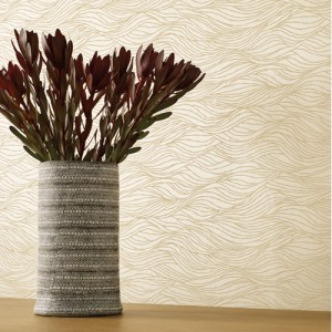 NA0586 York Wallcoverings Candice Olson Botanical Dreams Sand Crest Wallpaper Tan Room Setting