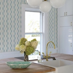 2903-25804 Brewster Wallcoverings A Street Prints Bluebell Bergen Geometric Linen Wallpaper Teal Room Setting