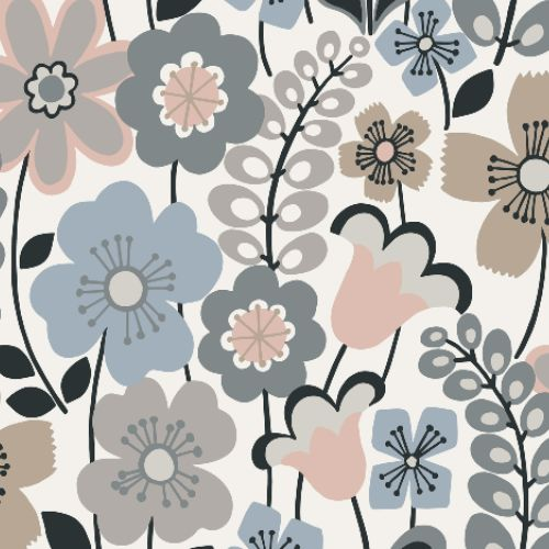 2903-25828 Brewster Wallcoverings A Street Prints Bluebell Piper Floral Wallpaper Light Blue