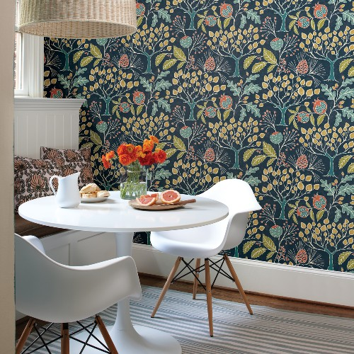 2903-25830 Brewster Wallcoverings A Street Prints Bluebell Shiloh Botanical Wallpaper Navy Room Setting