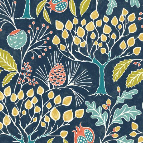 2903-25830 Brewster Wallcoverings A Street Prints Bluebell Shiloh Botanical Wallpaper Navy
