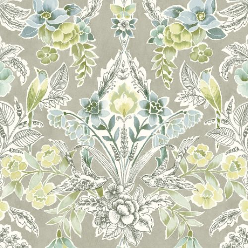 2903-25862 Brewster Wallcoverings A Street Prints Bluebell Vera Floral Damask Wallpaper Light Green