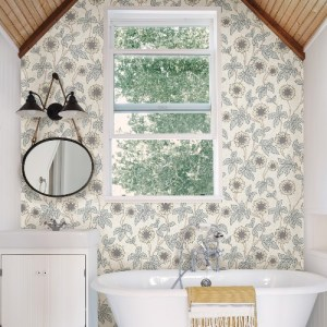 2948-28020 Brewster Wallcoverings A Street Prints Leilani Floral Wallpaper White Room Setting