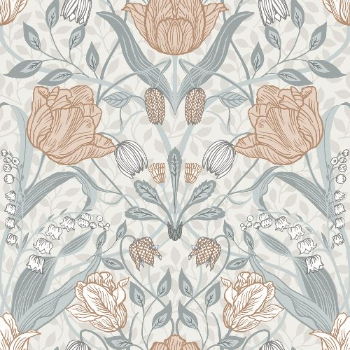 2948-33005 Brewster Wallcoverings A Street Prints Spring Tulipa Floral Wallpaper Off-White