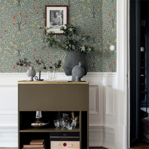 2948-33014 Brewster Wallcoverings A Street Prints, Tulipa Floral Wallpaper Green Room Setting