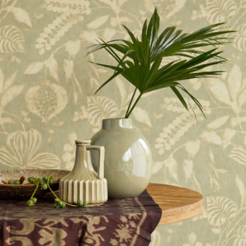 391501 Brewster Wallcoverings Eijffinger Terra Arvada Botanical Wallpaper Sage Room Setting