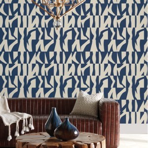 GM7581 York Wallcoverings Geometric Resource Sketchbook Wallpaper Navy Room Setting