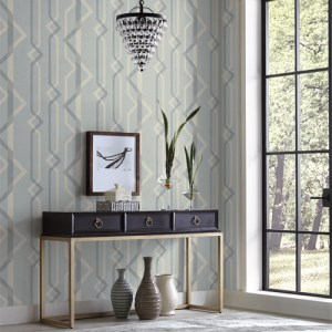 GM7601 York Wallcoverings Geometric Resource Shape Shifter Wallpaper Blue Room Setting