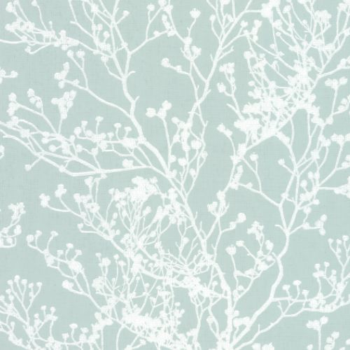 HC7520 York Wallcoverings Ronald Redding Handcrafted Naturals Budding Branch Silhouette Wallpaper Blue