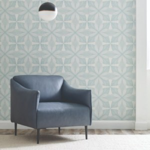 HC7541 York Wallcoverings Ronald Redding Hancrafted Naturals Roulettes Wallpaper Light Blue Room Setting