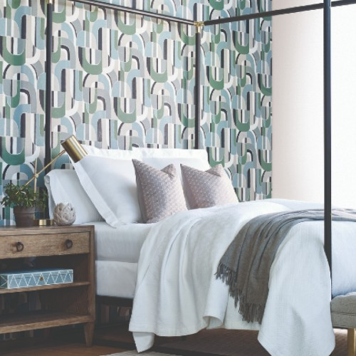 HC7599 York Wallcoverings Ronald Redding Handcrafted Naturals Sculpture Garden Wallpaper Green Room Setting