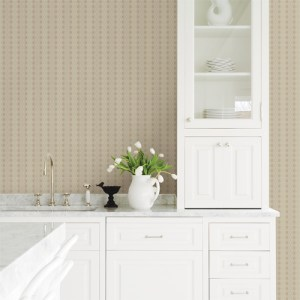 2809-IH20012 Brewster Wallcoverings Advantage Geo Taylor Diamond Wallpaper Beige Room Setting