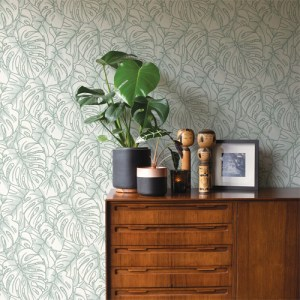 2964-87343 Brewster Wallcoverings A Street Prints Scott Living Balboa Botanical Wallpaper Olive Room Setting