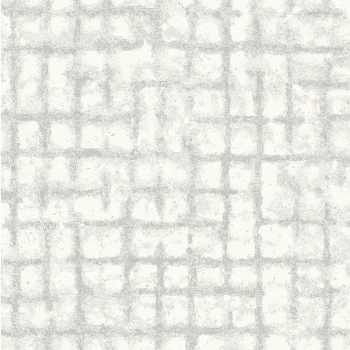 2964-87348 Brewster Wallcovering A Street Prints Scott Living Shea Distressed Geometric Wallpaper Light Grey