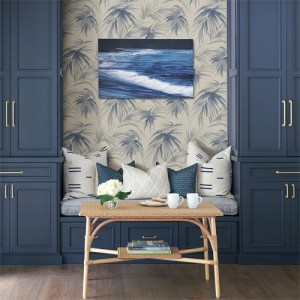 2964-87410 Brewster Wallcoverings A Street Prints Scott Living Darlana Grasscloth Wallpaper Blue Room Setting