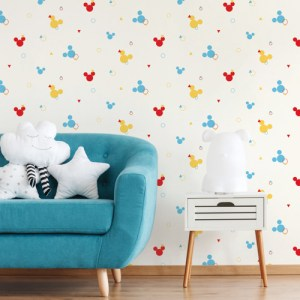 DI0930 York Wallcoverings Disney Kids 4 Disney Mickey Geo Wallpaper Primary Room Setting
