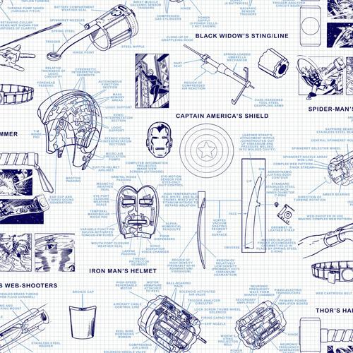 DI0935 York Wallcoverings Disney Kids 4 Marvel Heroes Schematics Wallpaper Blue