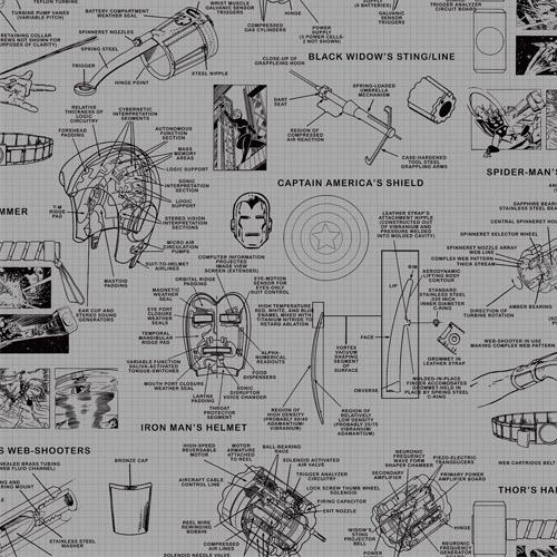 DI0936 York Wallcoverings Disney Kids 4 Marvel Heroes Schematics Wallpaper Grey