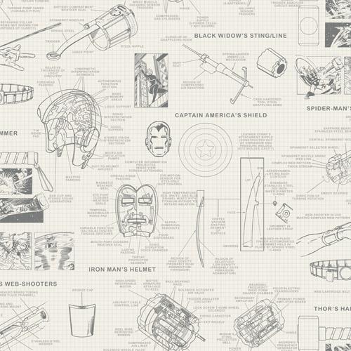 DI0937 York Wallcoverings Disney Kids 4 Marvel Heroes Schematics Wallpaper Cream
