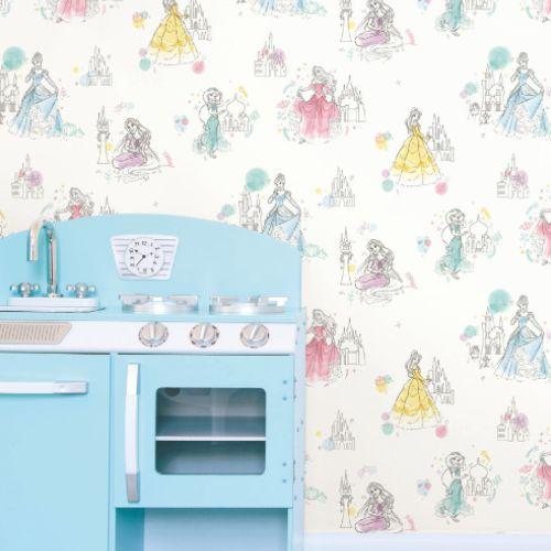 DI0968 York Wallcoverings Disney Kids 4 Disney Princess Pretty Elegant Wallpaper White Room Setting