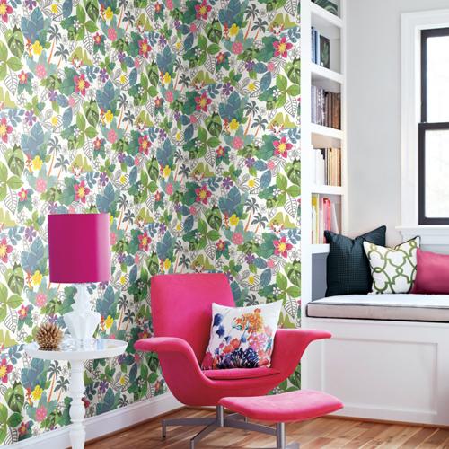 DI0994 York Wallcoverings Disney Kids 4 Disney Moana Jungle Wallpaper Pink Room Setting