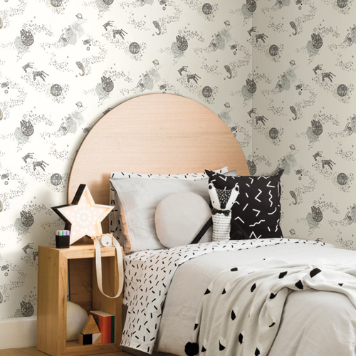 DI0997 York Wallcoverings Disney Kids 4 Star Wars Good Night Galaxy Wallpaper Black and White Room Setting