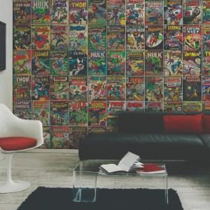 RMK11410M York Wallcoverings Disney Kids 4 Marvel Comic Cover Peel and Stick Mural Room Setting
