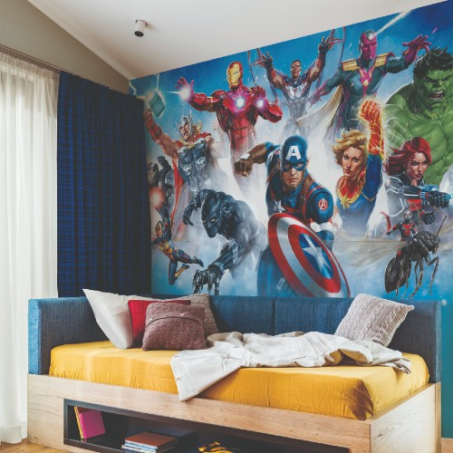 RMK11411M York Wallcoveirngs Disney Kids 4 Avenger Gallery Art Peel and Stick Mural Room Setting