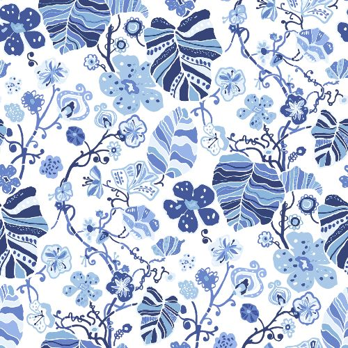 2903-25810 Brewster Wallcoverings A Street Prints Bluebell Gwyneth Floral Wallpaper Indigo