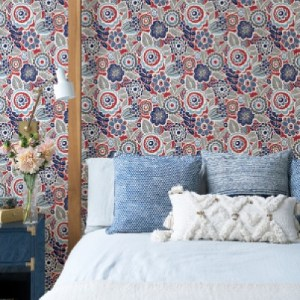 2903-25868 Brewster Wallcoverings A Street Prints Bluebell Lucy Floral Wallpaper Red Room Setting