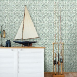 3120-12338 Brewster Wallcoverings Chesapeake Sanibel Sun Kissed Collection Sonoma Beach Tile Wallpaper Green Room Setting
