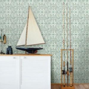 3120-12338 Brewster Wallcoverings Chesapeake Sanibel Sun Kissed Collection Sonoma Beach Tile Wallpaper Green Room Setting