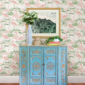 3120-13601 Brewster Wallcoverings Chesapeake Sanibel Sun Kissed Collection Everglades Flamingos Wallpaper Coral Room Setting