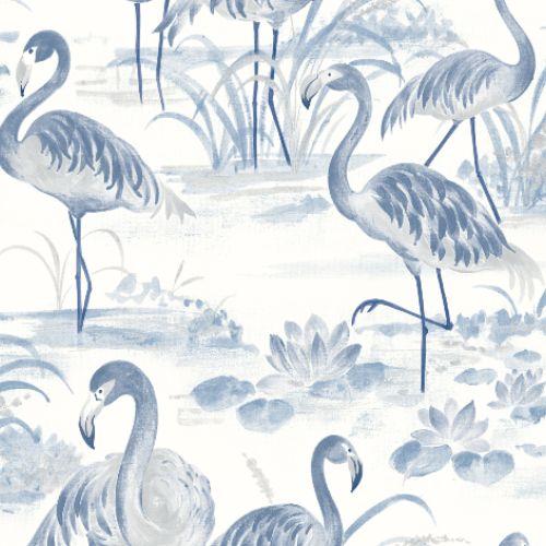 3120-13602 Brewster Wallcoverings Chesapeake Sanibel Sun Kissed Collection Everglades Flamingos Wallpaper Blue