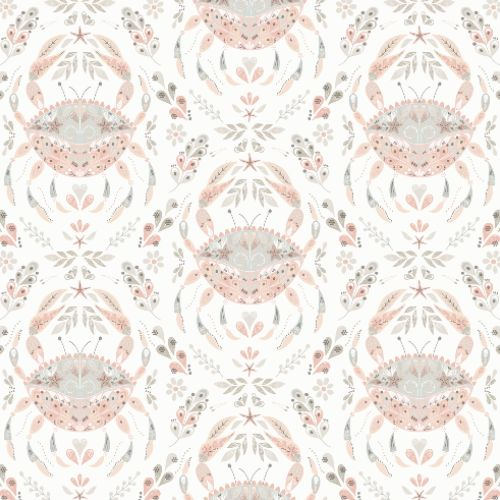 3120-13641 Brewster Wallcoverings Chesapeake Sanibel Sunk Kissed Collection Annapolis Crustation Wallpaper Coral