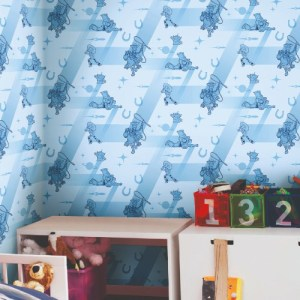 DI0925 York Wallcoverings Disney Kids 4 Disney and Pixar Toy Story 4 Retro Wallpaper Blue Room Setting
