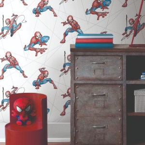 DI0939 York Wallcoverings Disney Kids 4 Spider-Man Fracture Wallpaper Red Room Setting