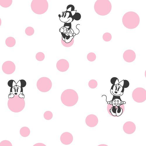 DI1027 York Wallcoverings Disney Kids 4 Disney Minnie Mouse Dots Wallpaper Pink