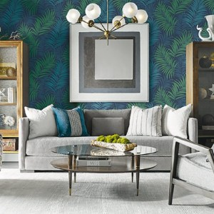 LN10112 Seabrook Wallcoverings Lillian August Via Palma Botanical Wallpaper Midnight Blue Room Setting
