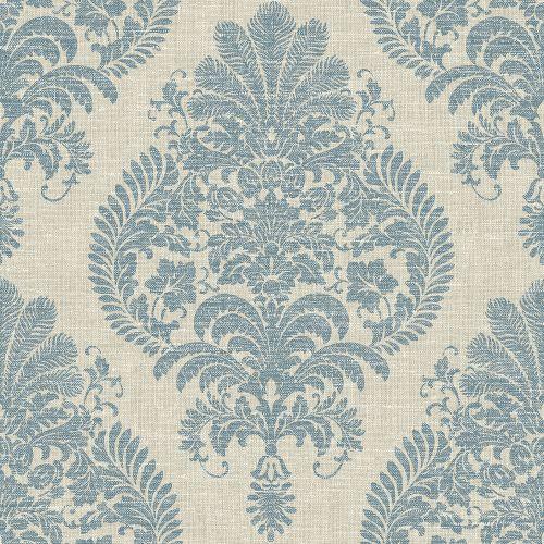 LN10402 Seabrook Wallcoverings Lillian August Luxe Retreat Antigua Damask Wallpaper Blue