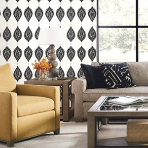 LN10600 Seabrook Wallcoverings Lillian August Mirasol Palm Frond Wallpaper Ebony Room Setting