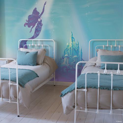 RMK11413M York Wallcoverings Disney Kids 4 Disney The Little Mermaid Under The Sea Peel and Stick Mural Room Setting